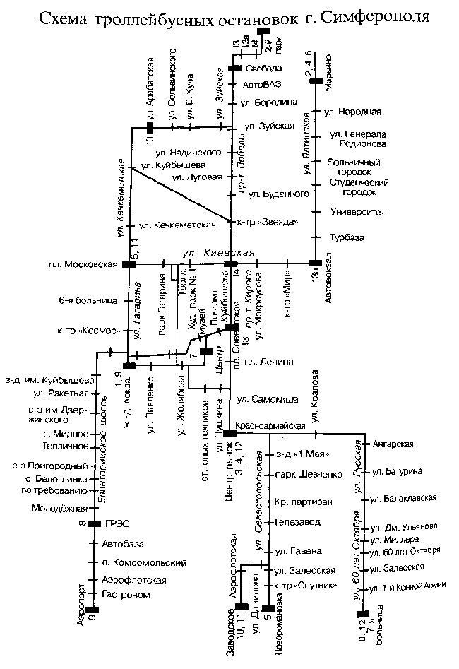 Схема троллейбусных остановок